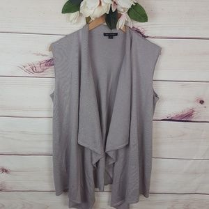 H by Haslton | Taupe Open Front Cardigan M